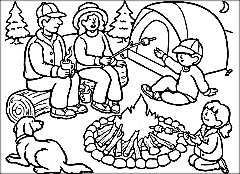 Camping Coloring Pages Color Zini Camping Coloring Pages Summer Coloring Pages Family Coloring Pages