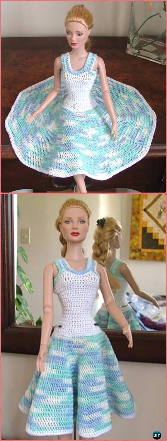 Crochet Fashion 16 inch Dolls Summer Dress Free Pattern – Crochet Barbie Fashion Doll Clothes Outfits Free Patterns #crochetedbarbiedollclothes