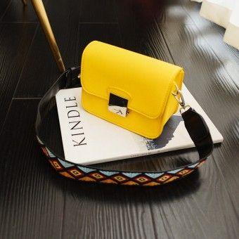 Cheap Tas Wanita Kecil Versi Korea Simpel Mini Tali Panjang Lebar  (Kuning)Kualitas memuaskan a5ace5662e