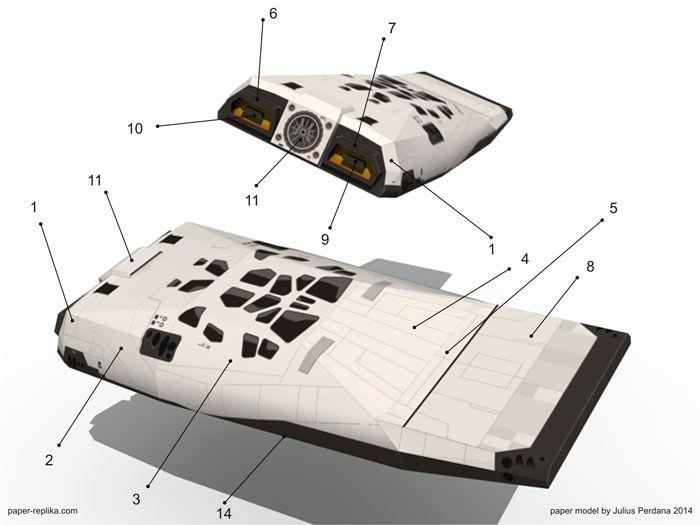 Interstellar Ranger Spacecraft Paper Model Interstellar Spacecraft Spaceship Concept
