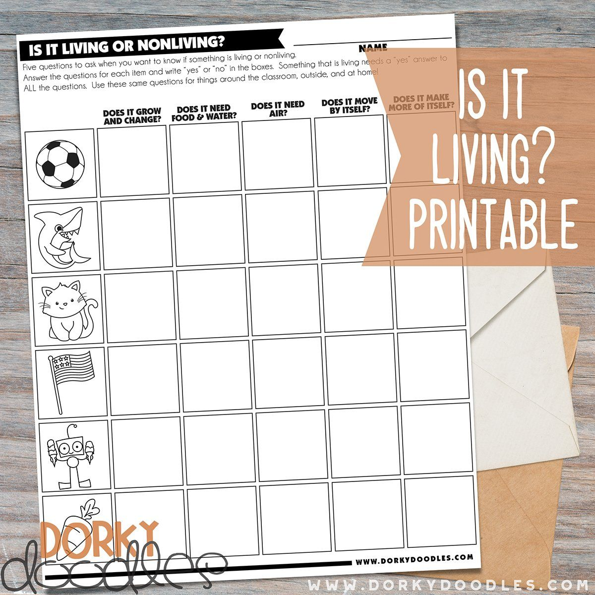 Is It Living Free Printable Worksheet