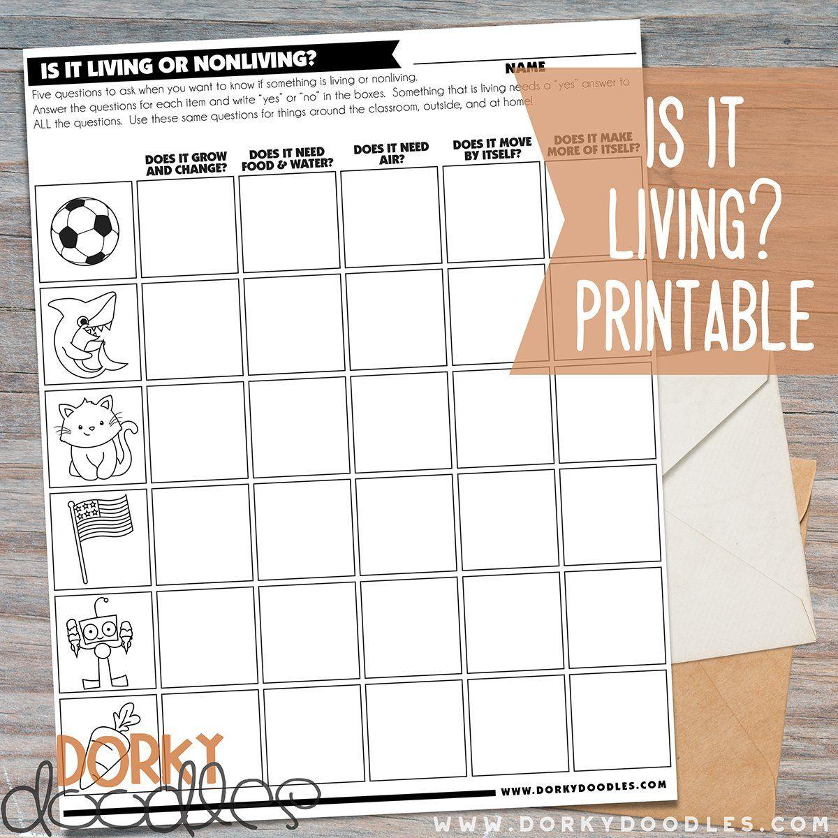 Is It Living Free Printable Worksheet
