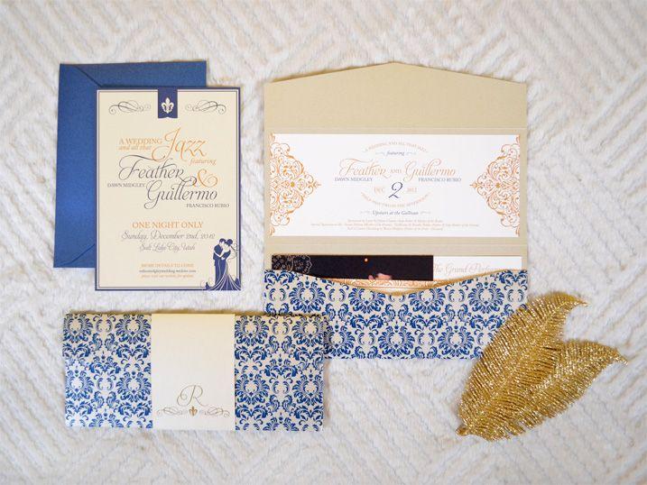 Elegant Jazz Themed Pocket Wedding Invitation in Navy and Gold by