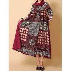 05b322248808f6 Gracila Ethnic Printed Turtleneck Women Dress - Banggood Mobile ...
