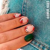 Flower Nail Art with Green Accent 36 Summer Nail Art Ideas Youll Wish To Try See… - All For Hair Color Trending