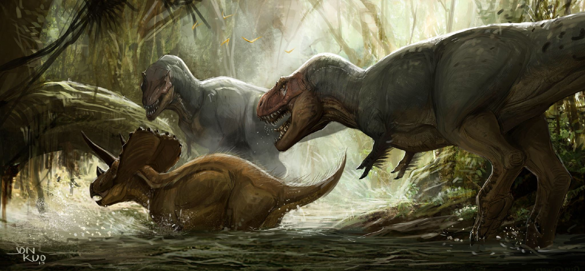 Hunters Paleo art, Prehistoric creatures, Dinosaur art