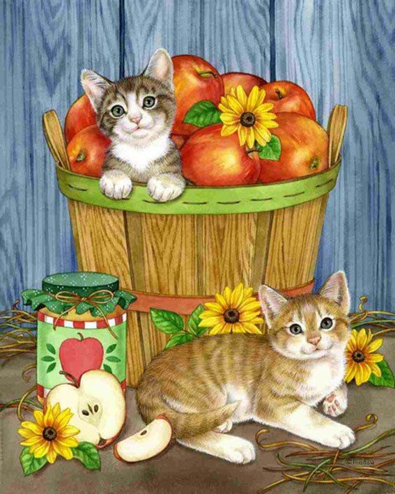 5d Diamond Painting Cats And The Apple Basket Kit Kedi Sanati