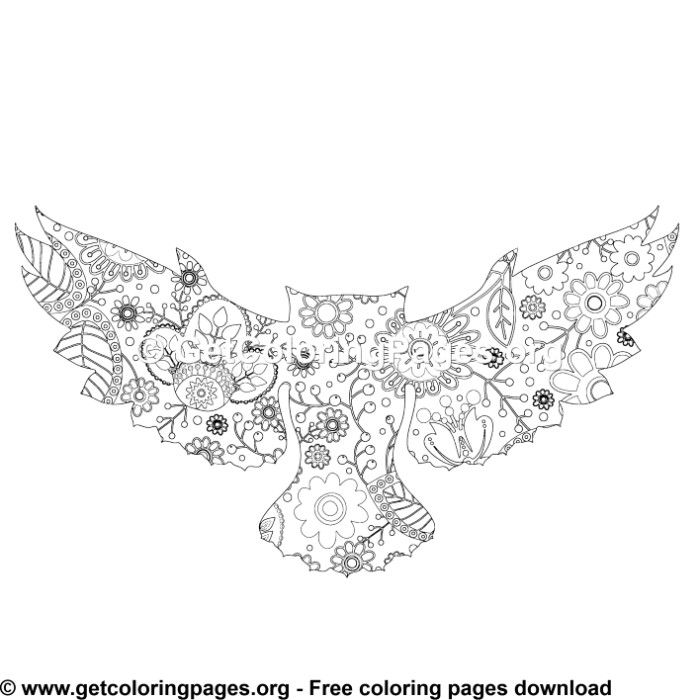 Zentangle Boho Flying Owl Coloring Pages | Owl coloring ...