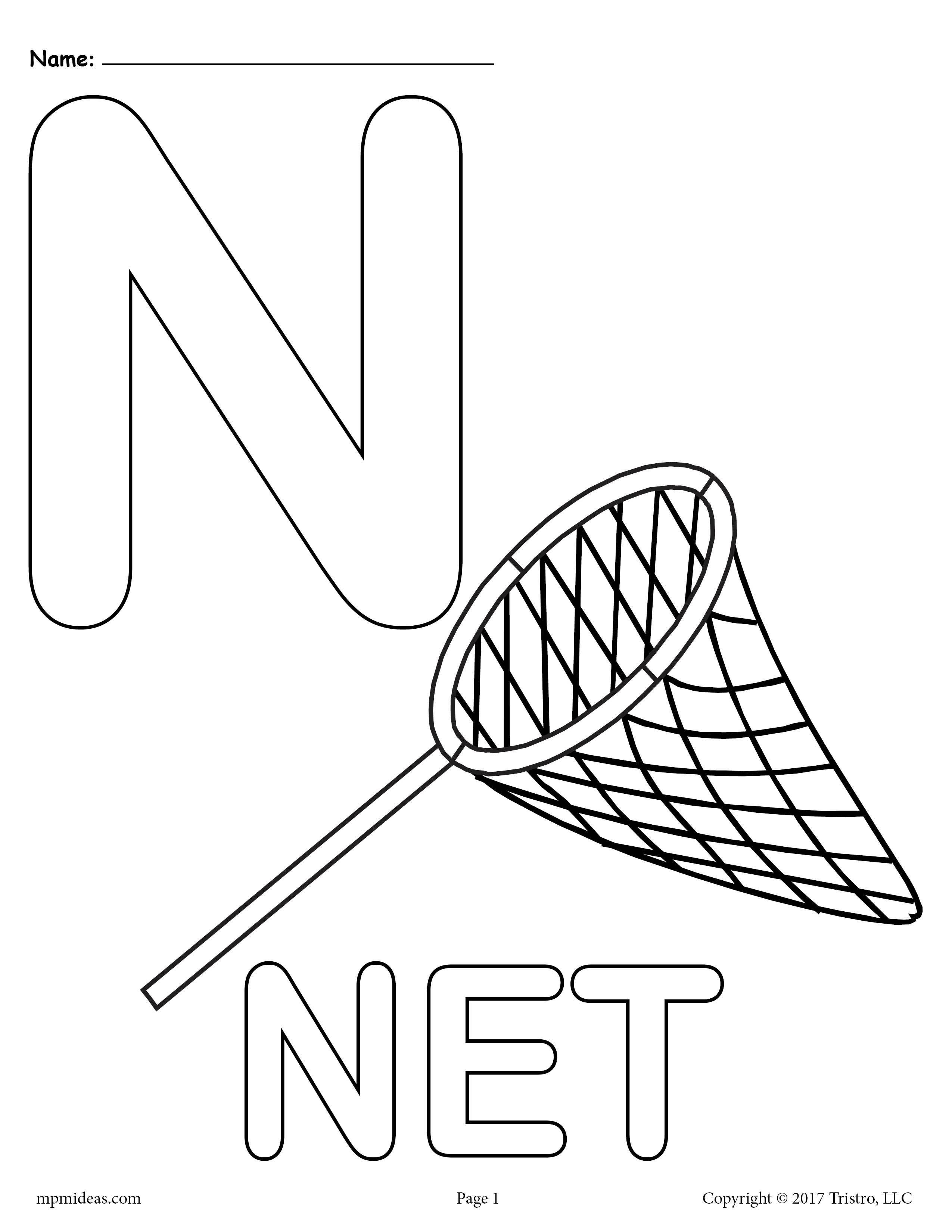 Letter N Alphabet Coloring Pages 3 Printable Versions Alphabet Coloring Pages Letter N Crafts Alphabet Coloring [ 3300 x 2550 Pixel ]