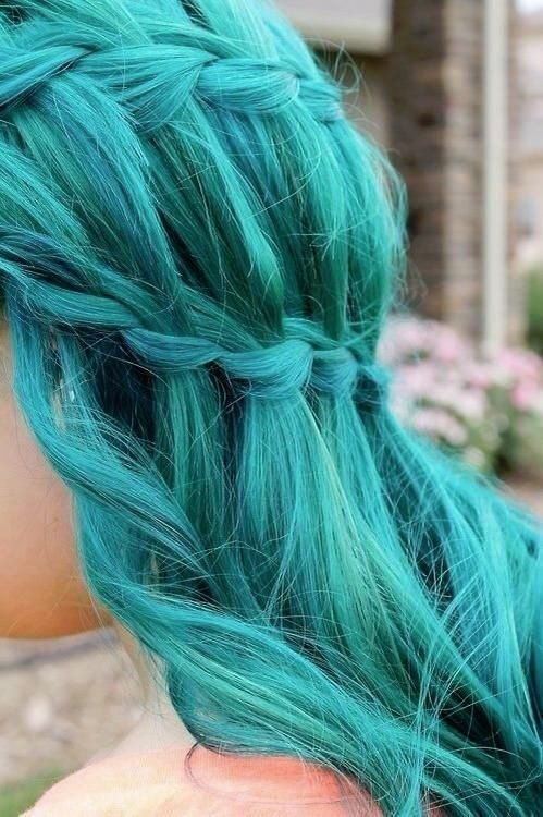Waterfall Braid Hairstyles Weekly Turquoise Hair Hair Styles Aqua Hair