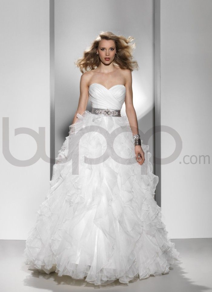 Ruched organza chiffon and tulle ruffles ball gown wedding for Tulle and organza wedding dresses
