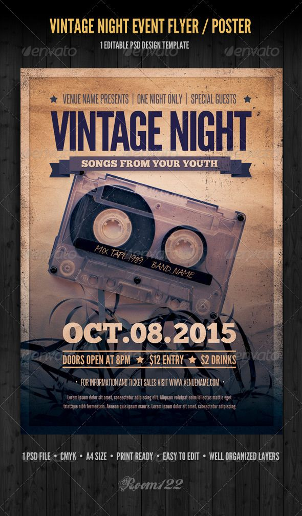 Vintage Night Event Flyer / Poster  #folk #rock #retro • Click here to download ! http://graphicriver.net/item/vintage-night-event-flyer-poster/3790951?s_rank=120&ref=pxcr