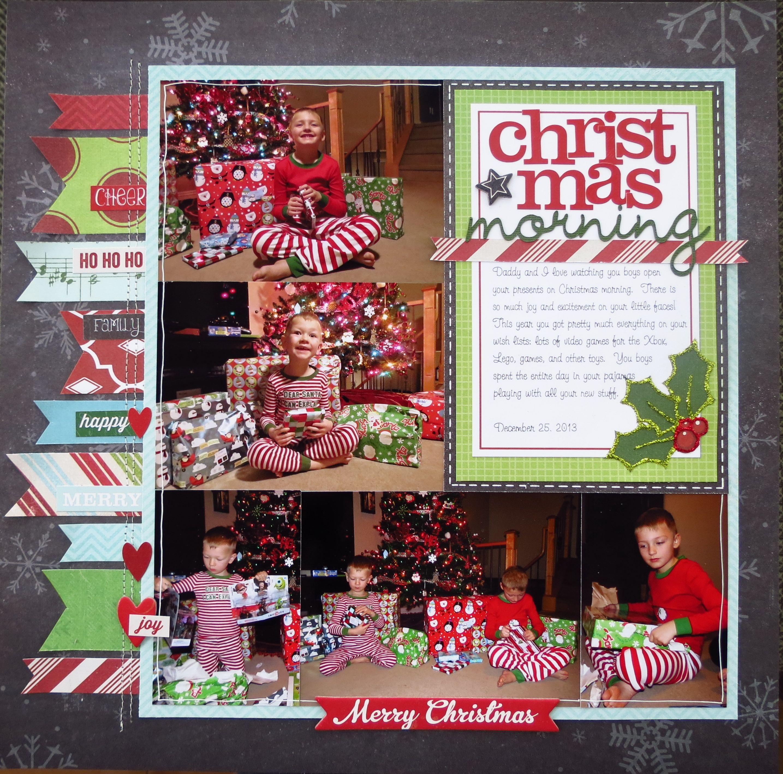 Scrapbook ideas using ribbon - Christmas Morning Left Side Scrapbook Com Recreate Using Traditional Supplies