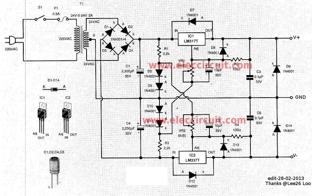 0 60v Dual Variable Power Supply Circuit By Lm317 Lm337 Power Supply Circuit Power Supply Design Power Supply