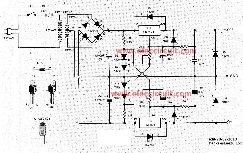 0 60v Dual Variable Power Supply Circuit By Lm317 Lm337 Elektrik
