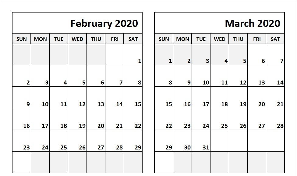 February March 2020 Calendar Events Planner Printable Calendar Template Calendar Template 2018 Calendar Template 2020 Calendar Template