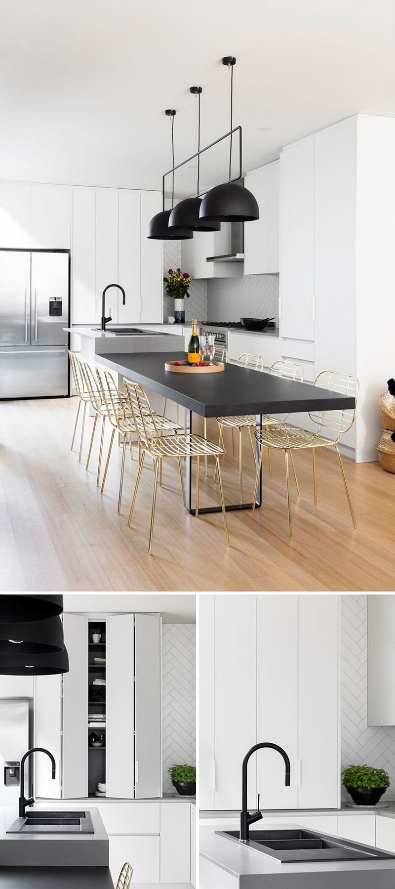 This Modern Kitchen Update Received Touches Of Black And Gold ...
