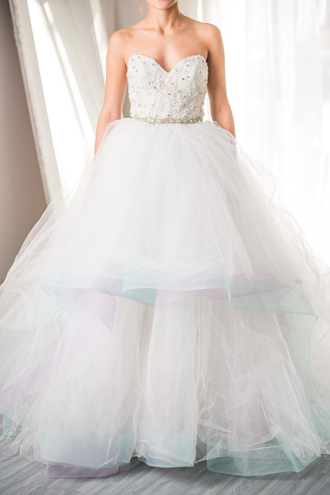 Lazaro - 3269 - This custom Lazaro - 3269 gown features lots of color with detachable straps and train!