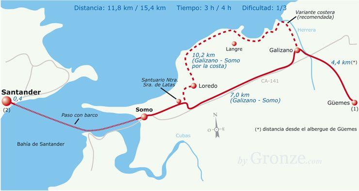 Etapa 12 Gemes Santander Mapa de etapas Camino del norte en