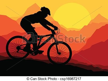 Vector Clip Art Of Mountain Bike Bicycle Riders In Wild