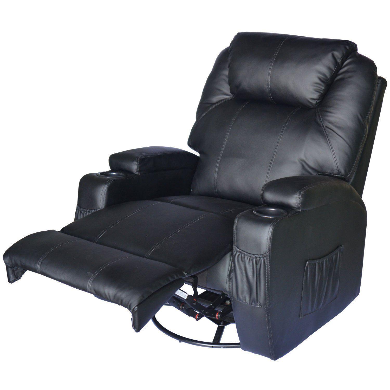 Pu Leather Heated Vibrating Massage Recliner Sofa Chair Black