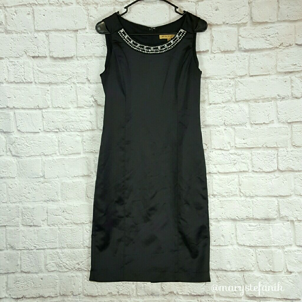 Nipon boutique elegant black evening gown dress gowns black and