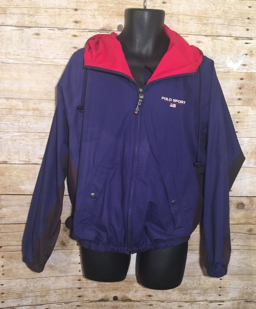 b2c98b606bf Vintage Polo Sport Ralph Lauren Blue Black Nylon Mens Windbreaker Jacket  Medium  PoloSport  Windbreaker