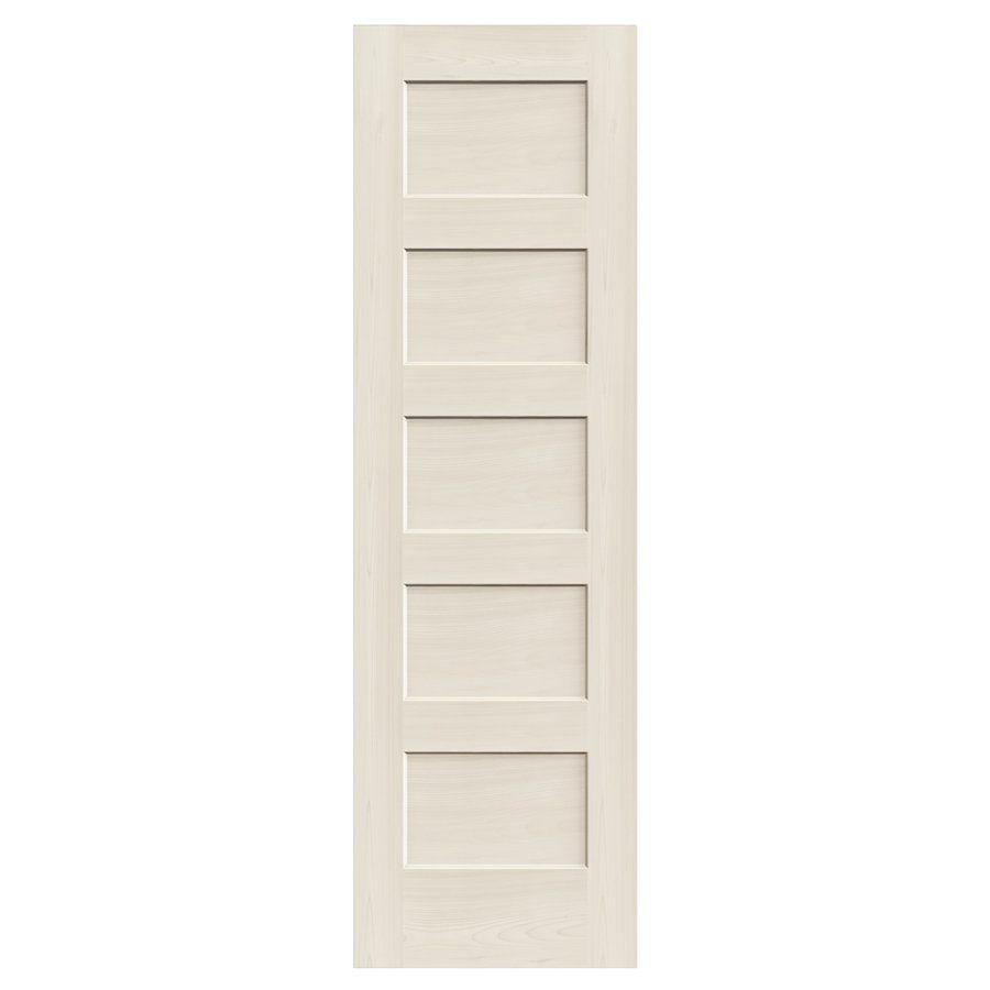 32 In X 80 In Primed Mdf 5 Panel Equal Shaker Interior Slab Door Interior Closet Doors Wood Doors Double Doors