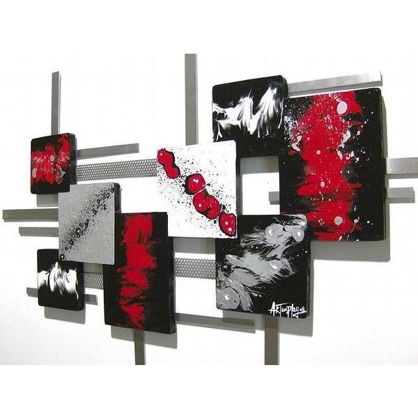 New Red,Black,White Modern Square Abstract Art wood Wall Sculpture ...
