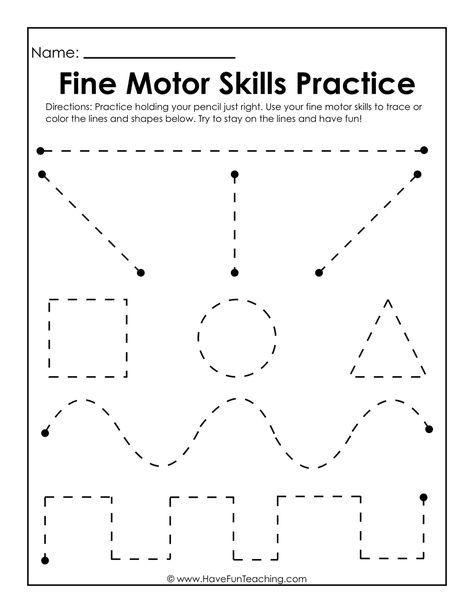 Use this Fine Motor Skills Practice Worksheet to practice fine motor skills, handwriting skills, drawing skills, and how to hold and grasp a pencil.