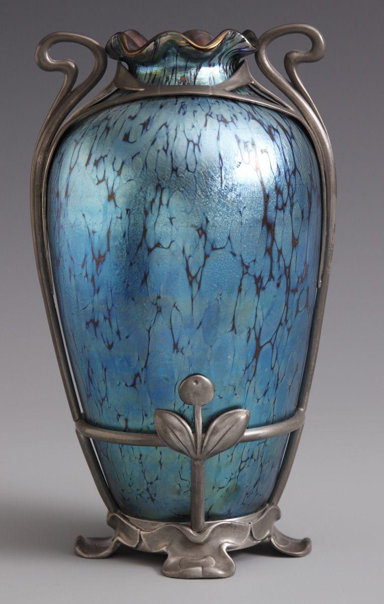 Fine loetz blue iridescent oil spot vase wstylized floral pewter fine loetz blue iridescent oil spot vase wstylized floral pewter mounts cottone auctions reviewsmspy