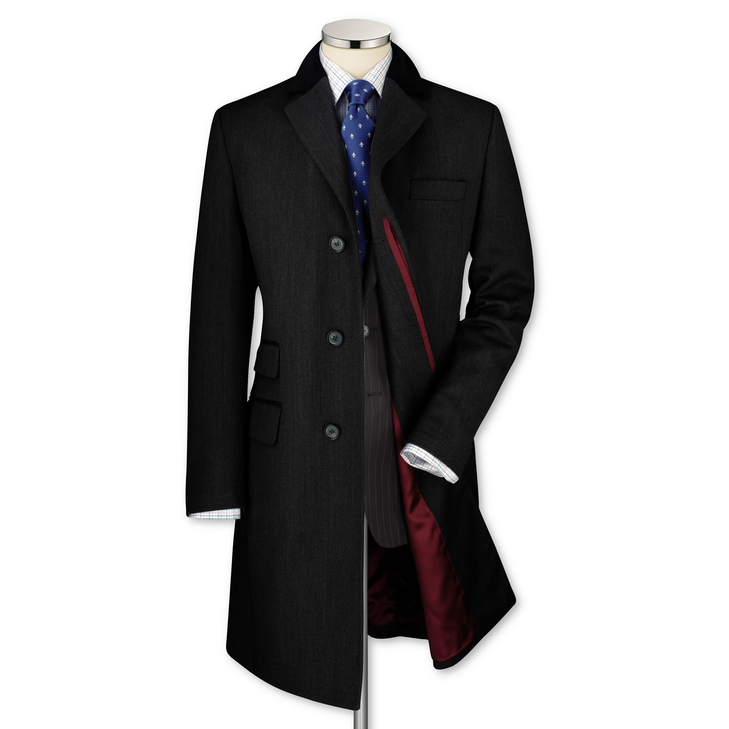 Charcoal covert coat | Men's coats from Charles Tyrwhitt ...