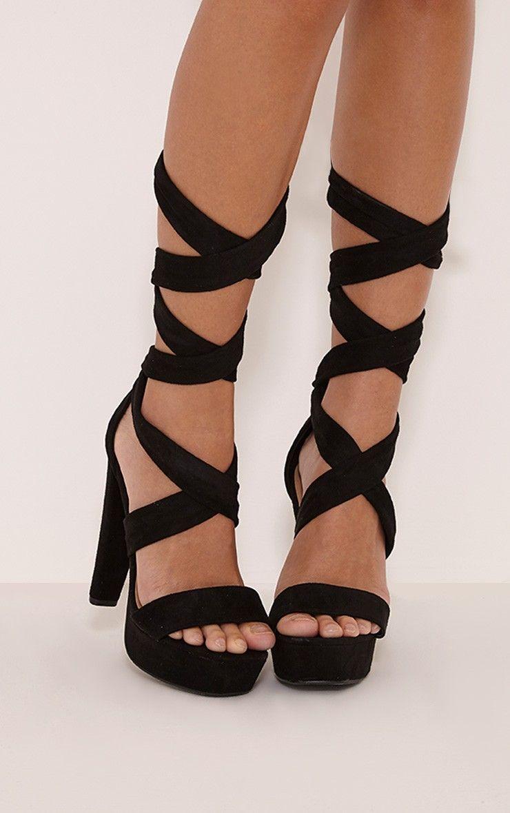 9dac9f691fa Tria Black Faux Suede Wrap Platform Sandals | PRETTYLITTLETHING in ...