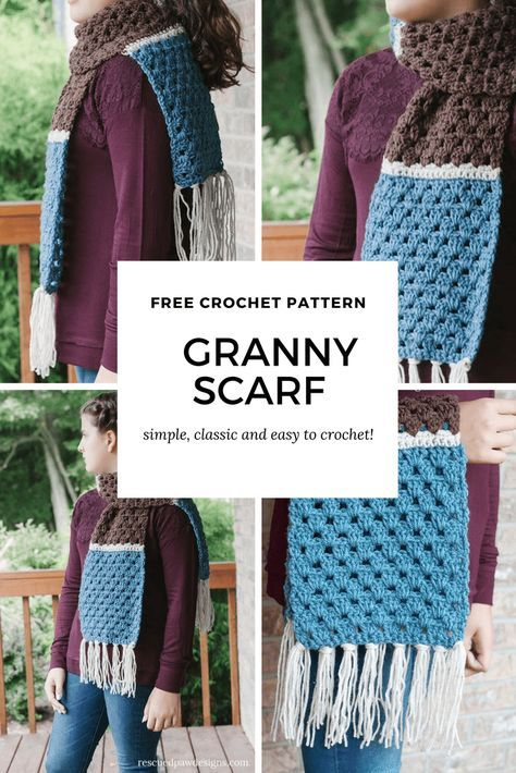 Free Simple Granny Scarf Crochet Pattern Scarves Crochet And