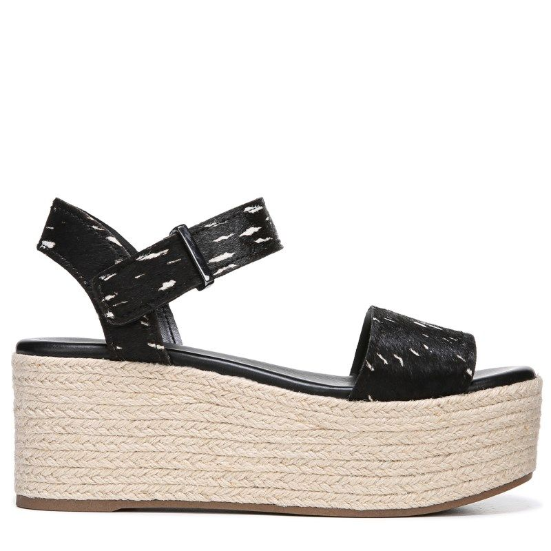 ecb19411af8 Franco Sarto Women's Ben Espadrille Wedge Sandals (Black Calf Hair ...