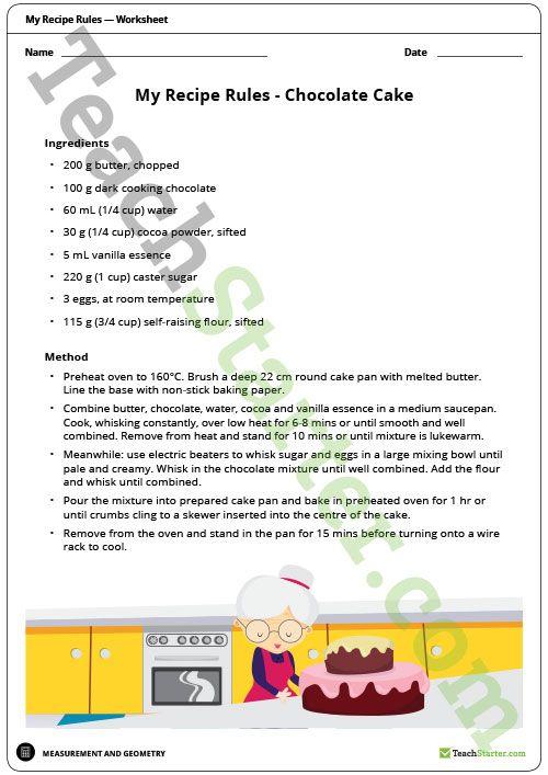 my recipe rules measurement worksheet teaching resource worksheets measurement worksheets. Black Bedroom Furniture Sets. Home Design Ideas