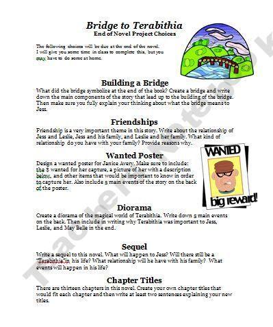 Bridge to terabithia book report worksheets. College paper Service