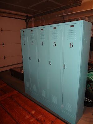Our Newest Refinished Treasures.....old School Lockers For Our Mud Room