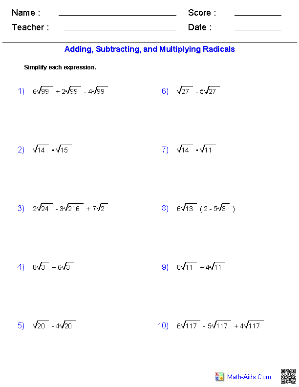 Operations with Radical Expressions Worksheets | Algebra 2 ...