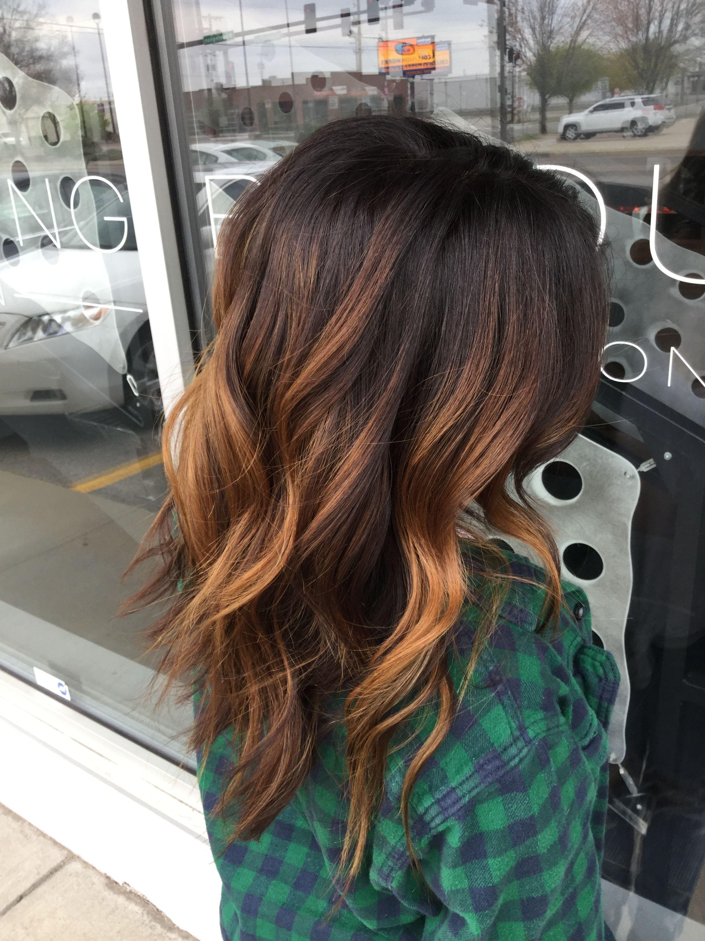 Warm Balayage Caramel Balayage Balayage On Dark Brown Hair