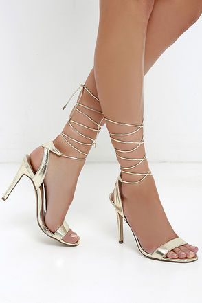 3248668dddc So head out to the dance floor in the Turn It Up Champagne Leg Wrap Heels! Metallic  gold vegan leather trims a slender toe strap and quarter ...