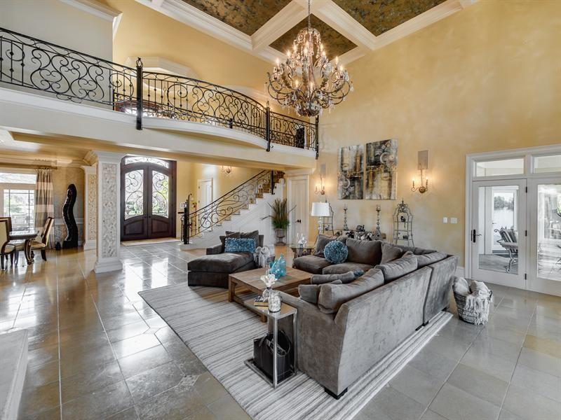 2-story great room + balcony + french door to sunroom ...