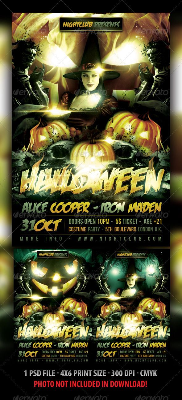 Halloween Flyer Template  Flyer Template Halloween Party Flyer
