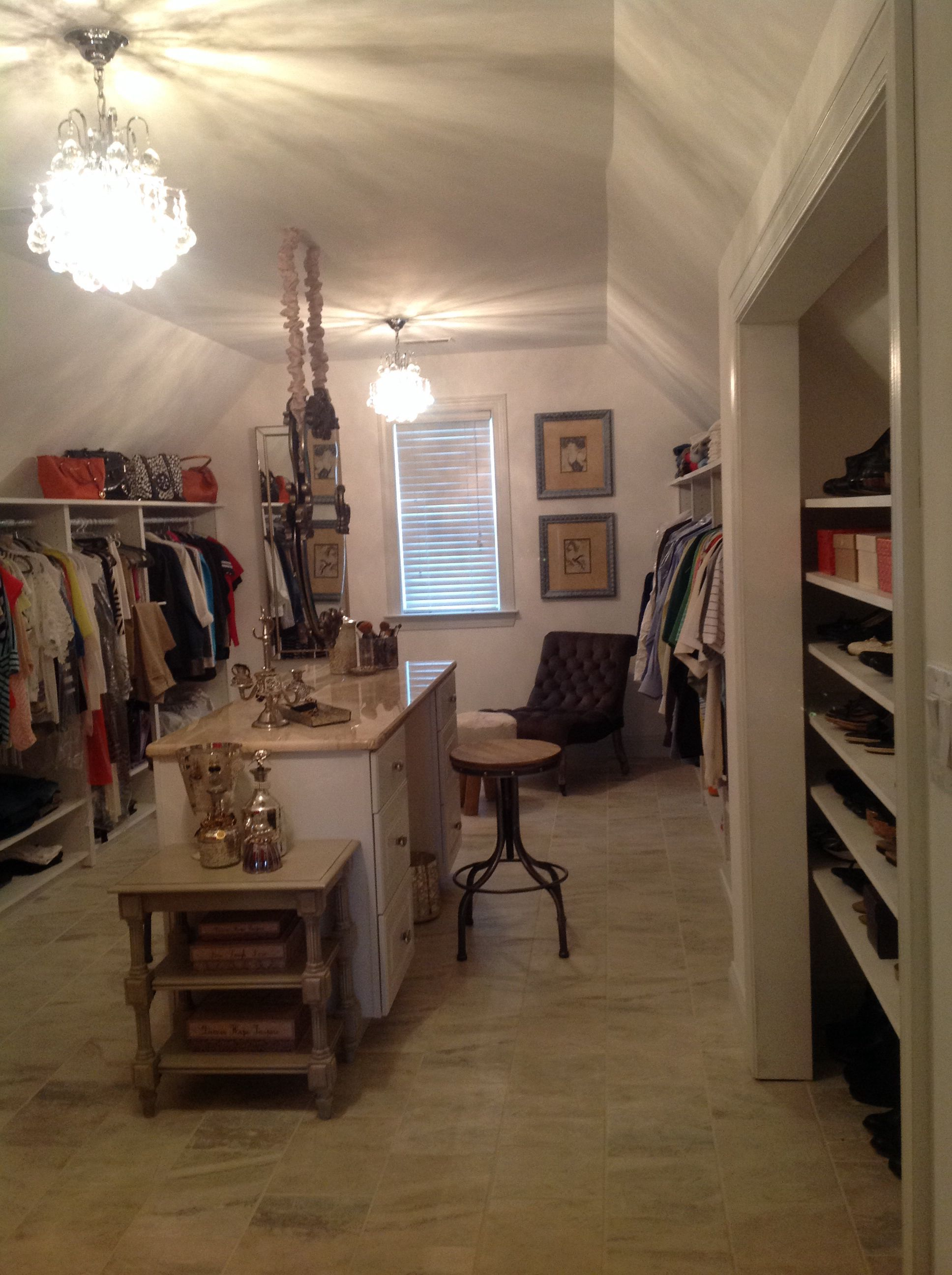 Double Hung Mirror From Ceiling Converted Linen Closet Into Glamorous Shoe Space Converted Bonus Room Over Garage Room Closet Garage Closet Bonus Room