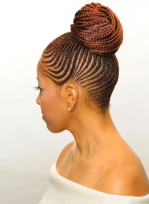 African Braided Buns African American Women Braided Buns And