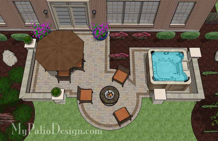 With 445 Sq Ft Our Hot Tub Patio Design With Seat Walls