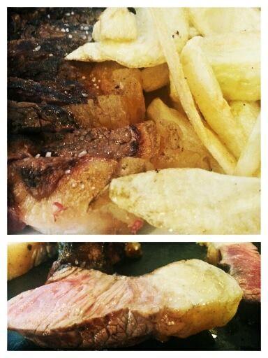 Chuleta a la brasa con patatas fritas. Tahona Artesanal Gourmet Bilbao.