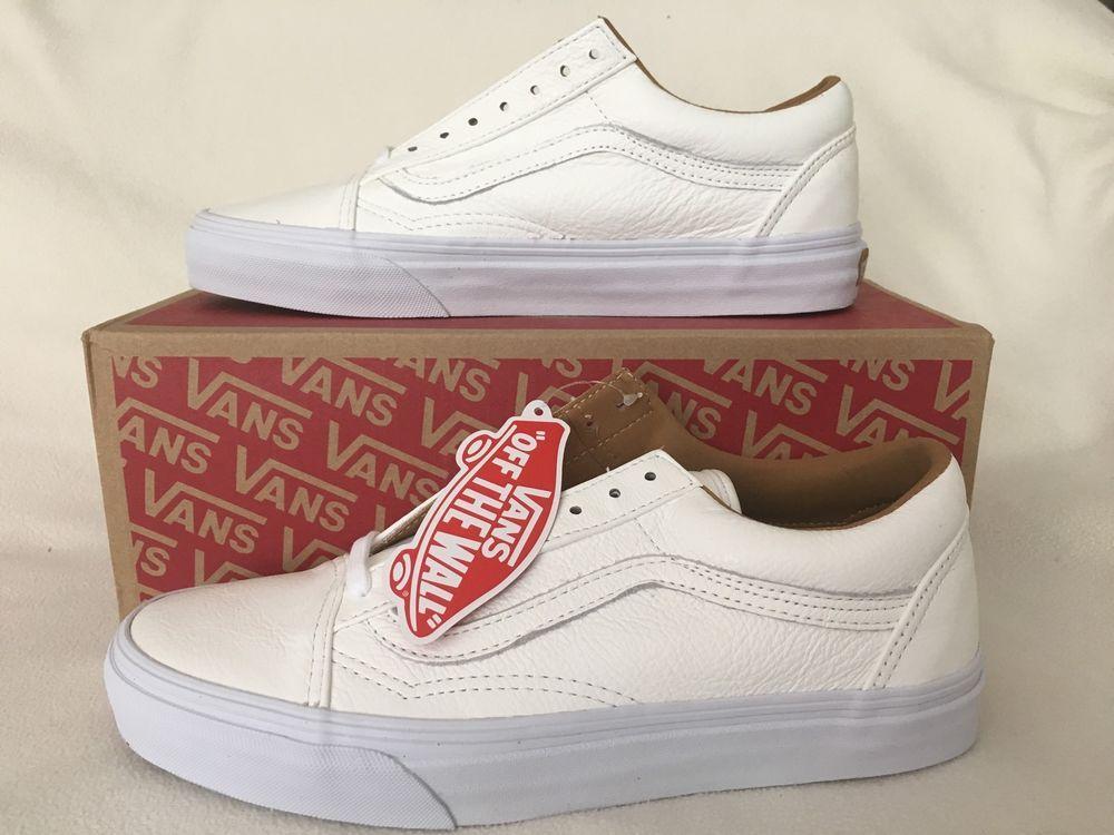 vans 8 5. vans skate shoes old skool white leather mens 7 womens 8 5 | ebay l