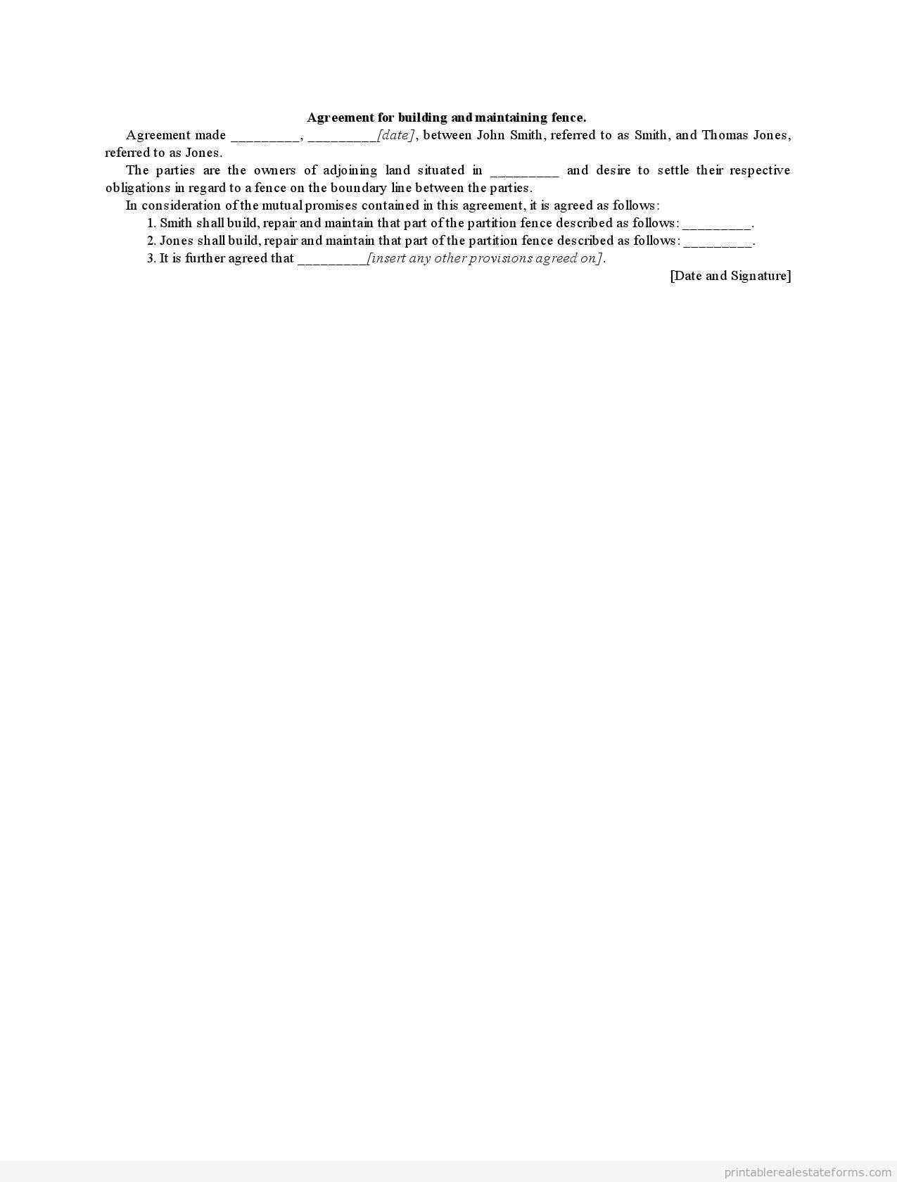 Sample Printable Agreement For Building And Maintaining Fence Form