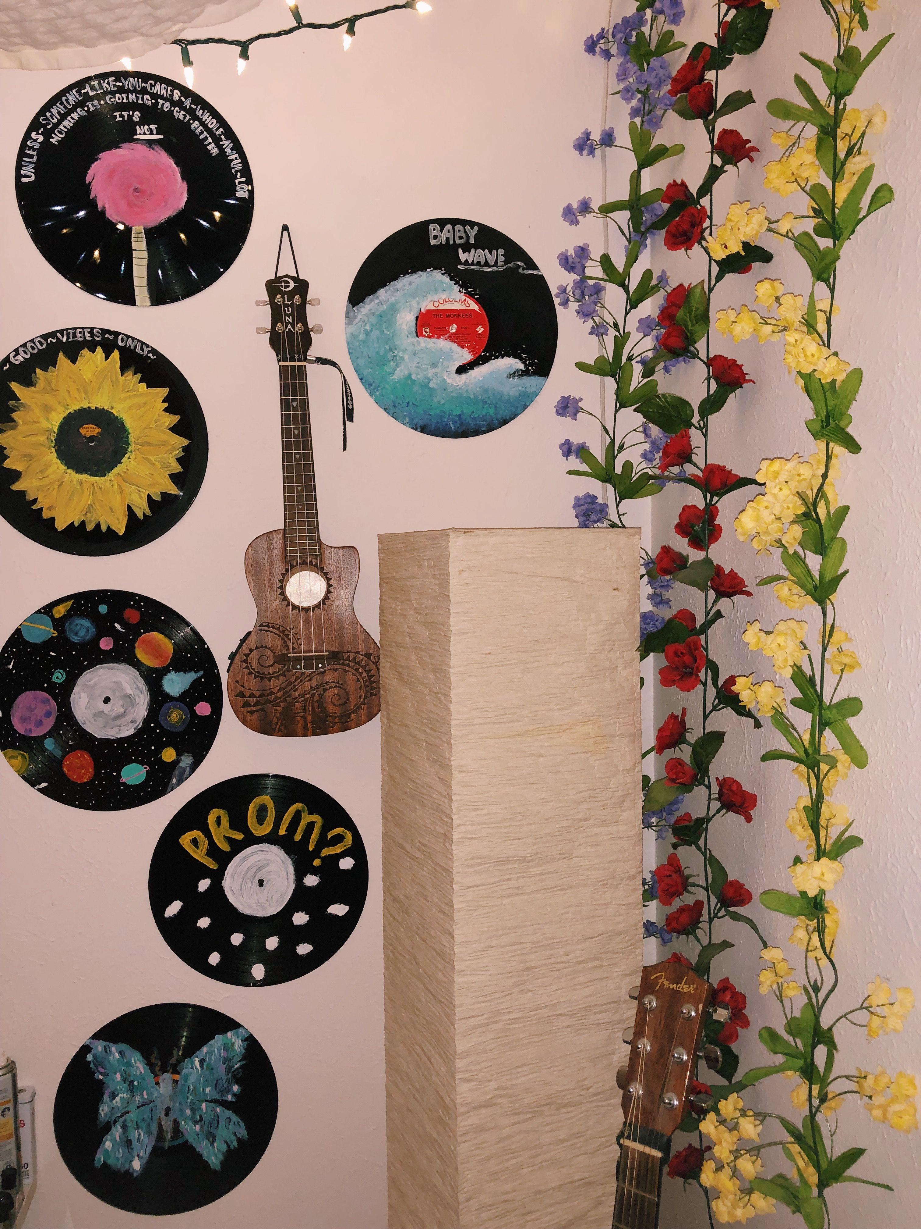 Boho Room Record Wall Art Vinyl Painted Vinyl Record Art
